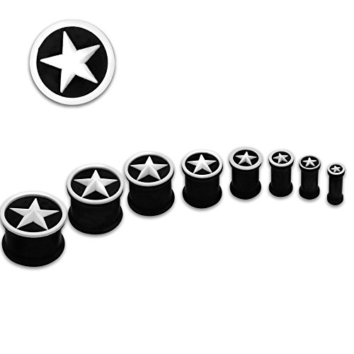 Comfortable to wear SoulCats Flesh Tunnel Silicone Star black 4 6 8 10 12 14 16 mm Height: 5 mm; color: black