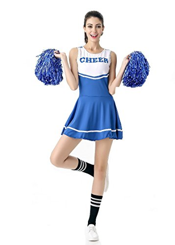 Women's halloween cheering squad costume party (Free Size, Blue) - Vampire Cheerleaders Costumes