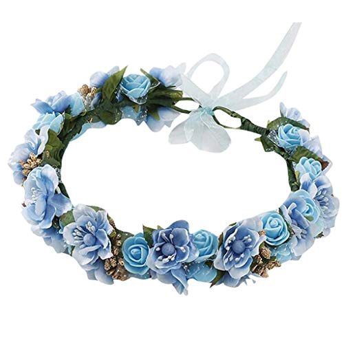 (Pengy Womens's Bridal Flower Garland Headband Flower Crown Hair Wreath Halo Ladies Wedding Hair Decor Blue)