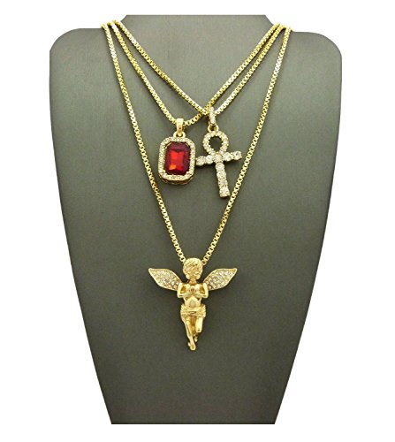 MENS ICED OUT ANKH CROSS RED RUBY BLACK BLUE GREEN STONE ANGEL BOX CHAIN 3 NECKLACE SET (Red) (Pendent Set Gold)