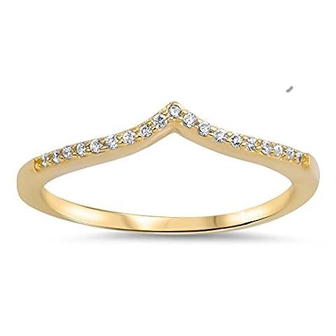 Gold-Tone White CZ Chevron Ring New .925 Sterling Silver Band Size 9 (RNG15537-9) (Chevron Cz Ring)
