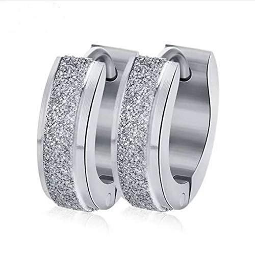 - UPRIMOR Highly Polished Shinny Stainless Steel Flosting Glitter Huggie Hinged Hoop Earrings for Women and Men, 13.5mm x 4mm (0.53 in x 0.16 in), Platinum