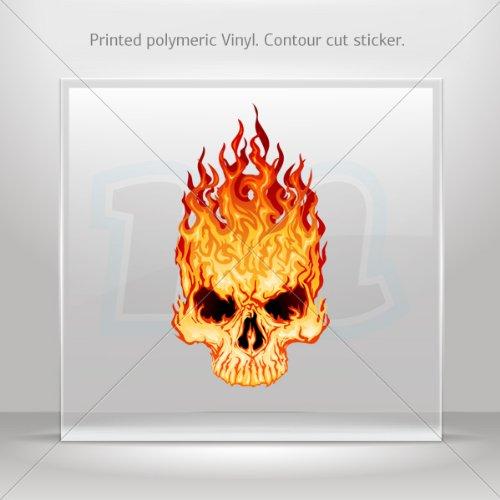 Decals Sticker Flaming Skull car helmet window Boat jet-ski