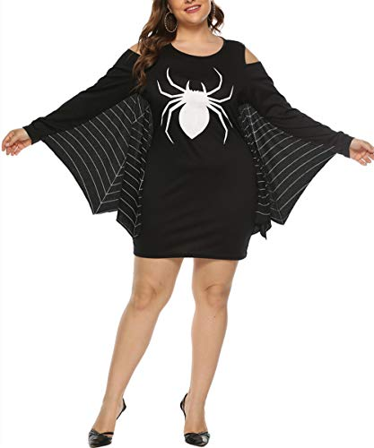 JomeDesign Womens Halloween Costumes Spiderweb Plus Size Jersey Tunic Cosplay Dress Black XXX-Large