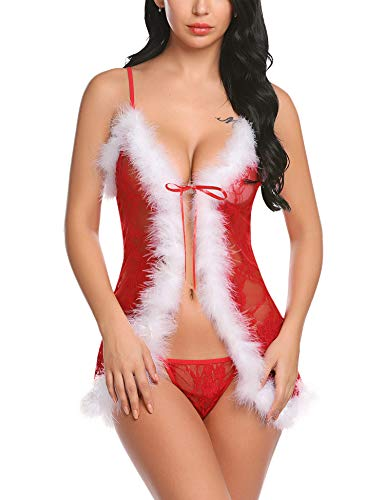 ADOME Womens Christmas Lingerie Lace Chemise Red Santa Babydoll One Piece Nightwea Mesh Bodysuit Open Front Nighties