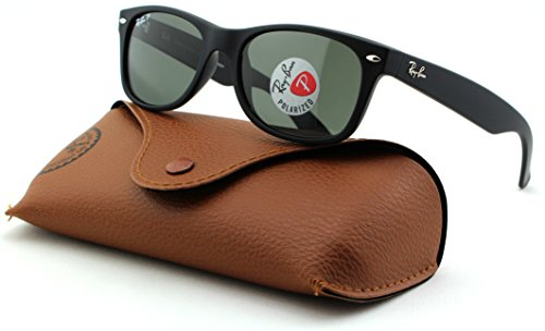 Ray-Ban RB2132 New Wayfarer Polarized Unisex Sunglasses (Rubber Black Frame/Polarized Green Lens 622/58, - 622 New Rb2132 52 Wayfarer