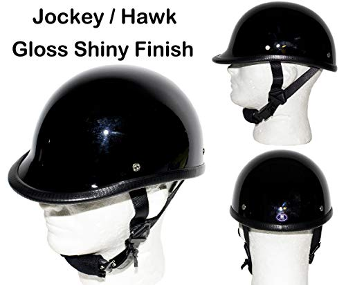 DMD Trading Motorcycle Low Profile Skull Cap Gloss Shiny Black Jockey/Hawk Novelty Helmet W/Adjustable Chin Strap (XL - (23.4