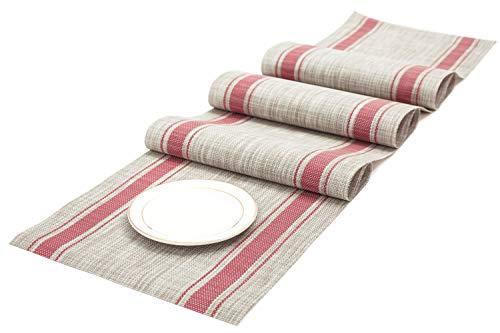 (Letjolt Striped Table Runner Plastic Table Runner for Dinner Table Valentine's Day Party PVCTable Runner for Kitchen Table, Red, 12'' x 72'' )
