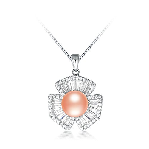 SuperLouisa Fashion clover with Shiny stone silver pearl long necklace jewelry for lady's gift Pink - Tiffany And Reviews Co