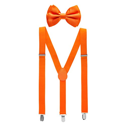 Man of Men - Men's Orange Bowtie & Suspender Set