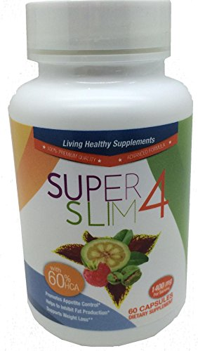 GARCINIA CAMBOGIA , FORSKOLIN , GREEN COFFEE BEAN and RASBERRY KETONE 1400mg ALL IN SuperSlim4 Natural Desire Suppressant and Weight Loss Supplement