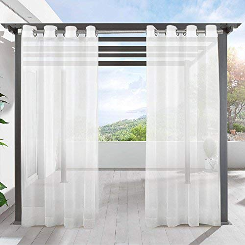 LIFONDER White Patio Sheer Curtains - Indoor Outdoor Grommet Top Waterproof Voile Sheer Drapes/Shades/Blinds for Patio Privacy, 54 Inch Width x 108 Inch Length, Off White, 1 Panel ()