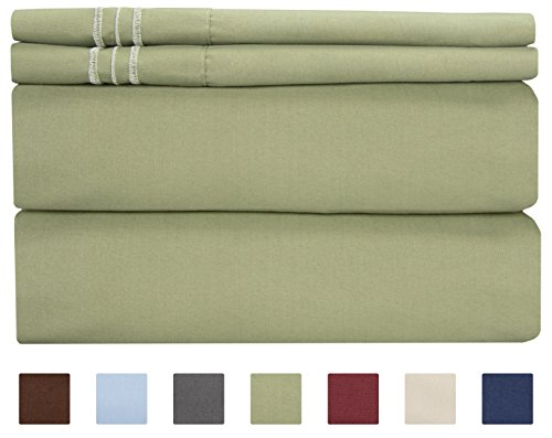 Queen Size Sheet Set - 4 Piece Set - Hotel Luxury Bed Sheets - Extra Soft - Deep Pockets - Easy Fit - Breathable & Cooling - Wrinkle Free - Comfy – Sage Green Bed Sheets - Queens Sheets – (Forest Green Sage)