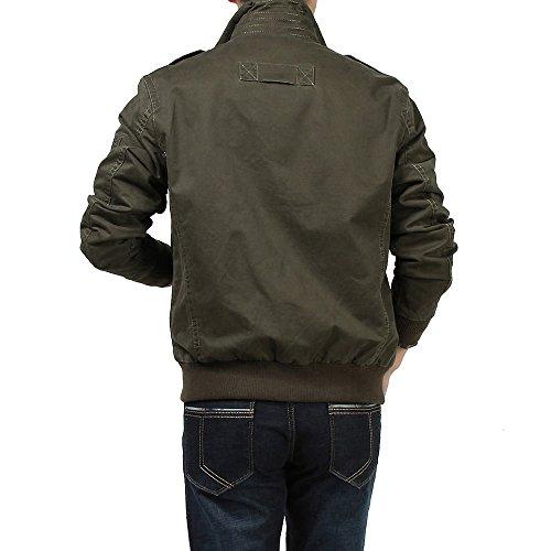 Collar Chaqueta Moda Vogvigo erguido Parka Hombre para Verde Otoño,Algodón Calle de Primavera Casual Militar Ropa de Abrigo O8gqdw8