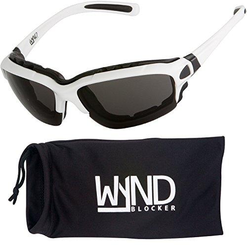 WYND Blocker Motorcycle Riding Glasses Extreme Sports Wrap Sunglasses, White, Smoke ()