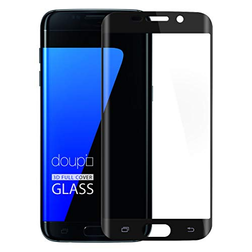 doupi Compatible FullCover Screen Protector for Samsung Galaxy S7 Edge, Premium 9H HD Tempered Glass 3D Touch Retina Crystal Clear Armored Anti Scratch Protective Display Guard, Black