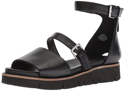 (Nine West Women's SATORIA Leather Flat Sandal Black 9.5 M US)