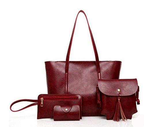 ZXH nuevos bolsos de moda europeos y americanos bolso de la madre del cuero de la cera del aceite retro bolso portátil del hombro del hombro de cuatro hombro , B A