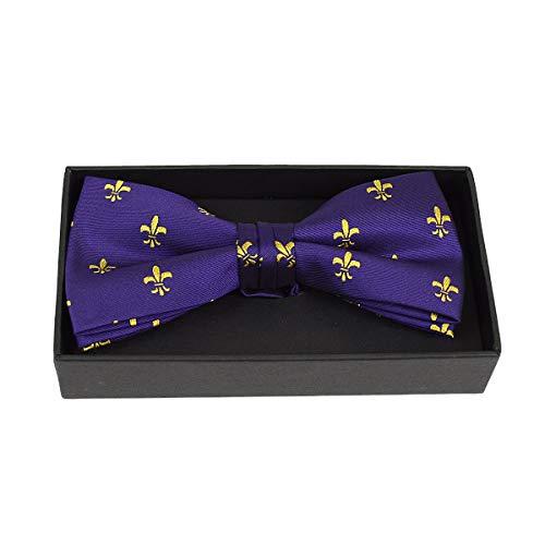 Urban-Peacock Men's Banded Bow Tie with Gift Box (Fleur-de-lis - Purple, 1)