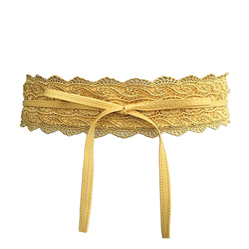 Deacroy Women's Obi Belt Faux Leather Wrap Around Bow Tie Cinch Boho Lace Belt, Yellow, 86.6 x 3.9inch