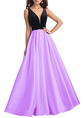 Neck Dresses Velvet S054 Bridal Evening Ball Women's Prom Gowns Satin V Beauty Lavender 2018 IgqwnaSU