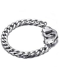 Handcuff Stainless Steel Curb Chain Link Bracelet Partners in Crime Best Friends Bracelets Friendship BFF Bangle for Women Men