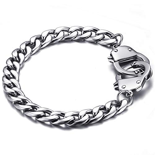 Jakob Miller Handcuff Stainless Steel Curb Chain Link Bracelet Partners in Crime Best Friends Bracelets Friendship BFF Bangle for Women Men