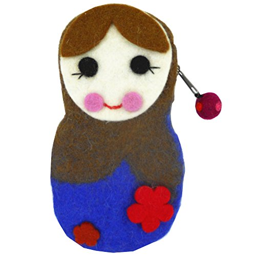 Wise Bird Mother's Day Gift Nepal Handcraft Handmade Eco Friendly Cute Fashion Smiling Doll Design Mobile Felted Woolen Purse, Phone, Coin, Jewelry and Make up Accessory Organize Case Bag