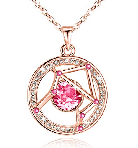 "Leafael ""Superstar Zodiac Constellation Pendant Necklace Made with Swarovski Crystal September October Birthstone Rose Pink Horoscope Jewelry, Libra, 14k Rose Gold Plated, 18""+2"""