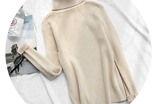 Winter Sweater Knitted Turtleneck Pullovers y Sweaters Basic Sweater Long SLE KZ135,Apricot,One Size