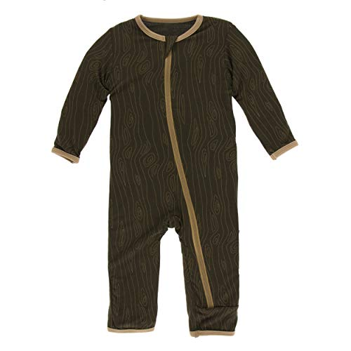5 Year Wood - Kickee Pants Little Boys Print Coverall with Zipper - Petrified Wood, 5 Years