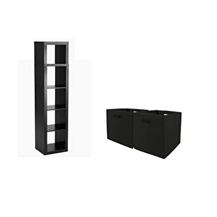 deee07fe2a84 Better Homes and Gardens 5-Cube Organizer Solid Black Storage Bookcase  Bookshelf with Storage Bins Cream