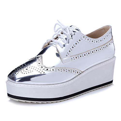 - Women's Patent Wingtip Oxfords PU Leather Lace Up Platform Wedge Brogues Sneakers Shoes Sliver