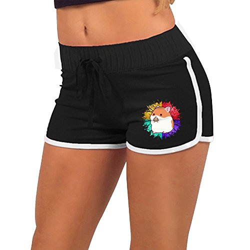 Price comparison product image Baujqnhot Adorable Guinea Pigs Low Poly Girls Comfort Waist Workout Running Shorts Pants Yoga Shorts