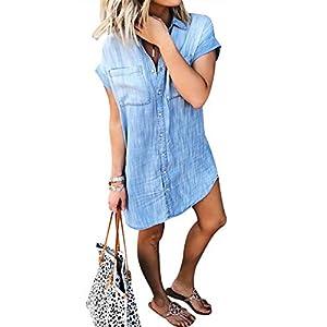 Women's Button Down Denim Shirt Dress Short Sleeve