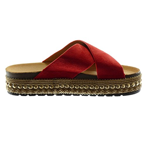 10e7f1529908 ... Angkorly Damen Schuhe Mule Sandalen - Slip-On - Plateauschuhe - Nieten  - Besetzt ...