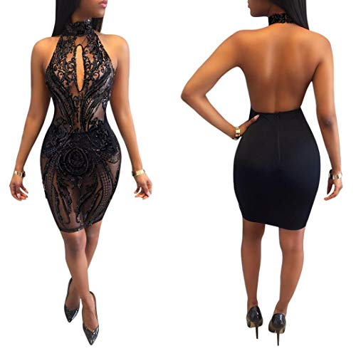 Acelyn Women s Sexy Halter Backless See Through Sequins Floral Club Bodycon Mini  Dress eaa338495