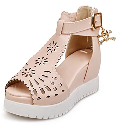 EaseMax Womens Sweet Mid Wedge Heels Hollow Out Sandals With Ankle Strap Pink