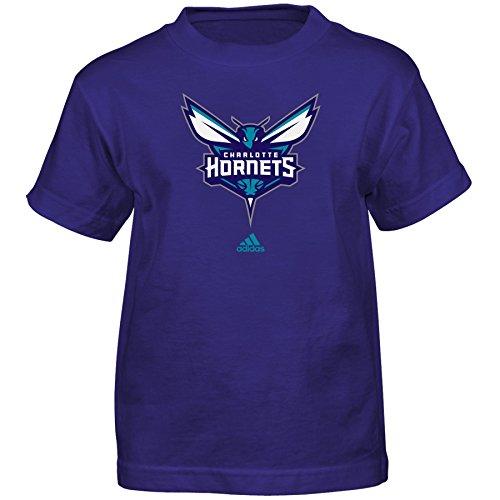 (Outerstuff NBA Charlotte Hornets Boys Full Primary Logo Short Sleeve Tee, Medium (5-6), Hornets Purple )