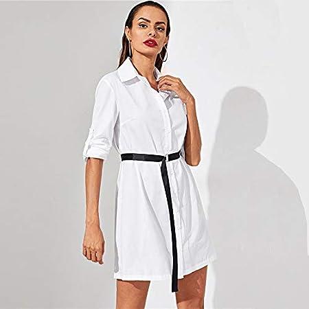 LFDLYQ Camisa Blanca Vestido de Mujer Primavera Sólido con ...