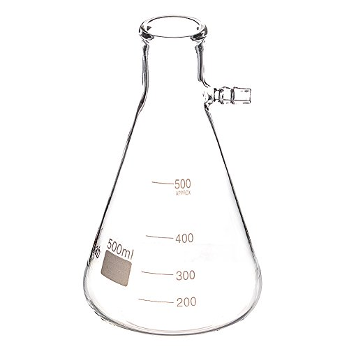 StonyLab Glass 500ml Heavy Wall Borosilicate Glass Filtering Flask, Bolt Neck with Tubulation - 500ml