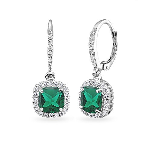 Sterling Silver Simulated Emerald Cushion-Cut Dangle Halo Leverback Earrings with White Topaz Accents
