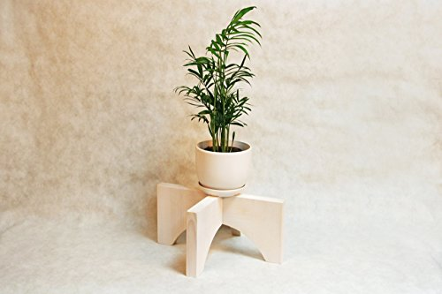 Mid Century Modern Wood Potted Plant Stand Indoor White 12x6 Inches Corner Flower Wood Planter Pot Holder Minimalist Decorative Wooden Vase Retro Display for Living Room Window Housewarming Gift (Planters Personalized Gifts)