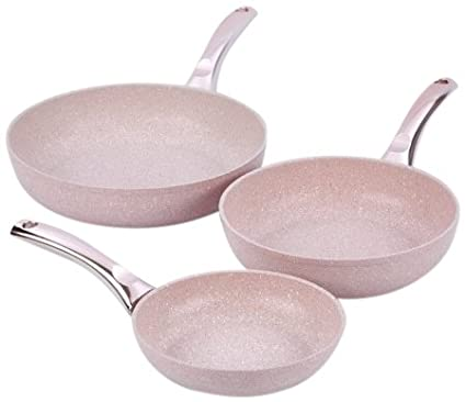 Amazon.com: Bisetti BT-28511 Stonerose Aluminium Frypan Set Large ...