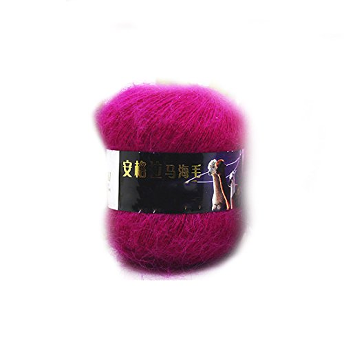 Fashion Soft Luxury Mohair Wool Knitting Yarn Sweater Scarf Knitting Wool-Dark Rose Red (Luxury Mohair)