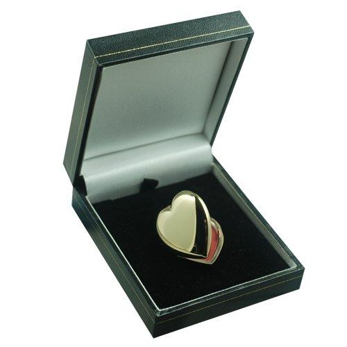 Médaillon à loqueten en or Jaune 375/1000 en forme de coeur, de 30x28mm fait main