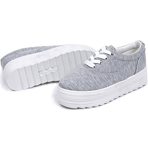 PP FASHION Womens Wedges Canvas Shoes Lace Up Fashion Platform Sneakers Grey 6lST7ZmYv