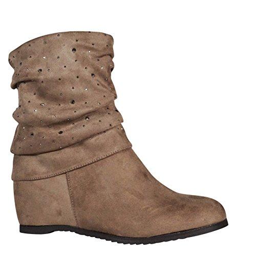 Damen Stiefeletten Keilabsatz Glitzer Wedge Stiefel Boots gefüttert P027 Beige