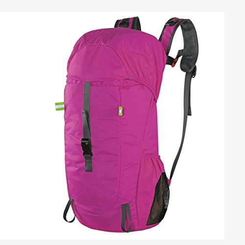 AMOS Los hombres y las mujeres plegables al aire libre del bolso de hombro del bolso de la piel del morral aceptan el bolso 30L del alpinismo envían el bolso ( Color : Azul ) Rosa Roja