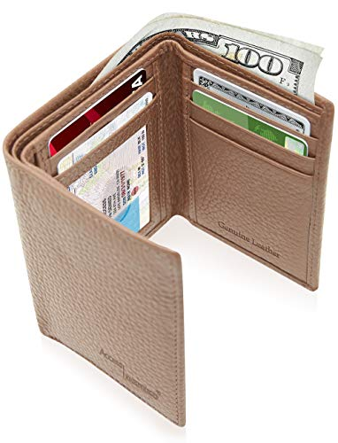 Stitched Wallet Billfold Leather Genuine - Trifold Wallets For Men RFID - Genuine Leather Slim Mens Wallet With ID Window Front Pocket Wallet Gifts For Men